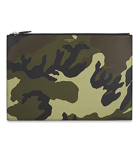 GIVENCHY Camouflage grained leather A4 pouch (Multi