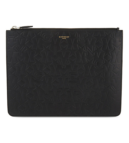 GIVENCHY Logo embossed large leather pouch (Black