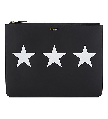 GIVENCHY Stars leather pouch (Black