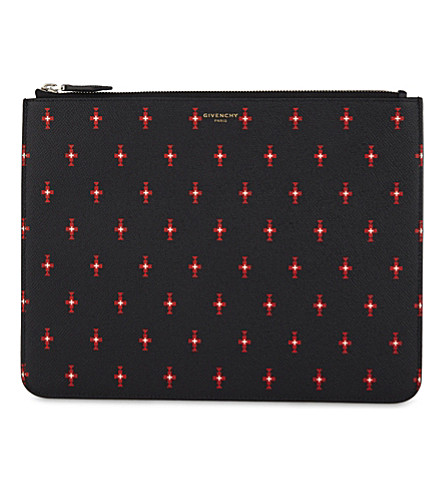 GIVENCHY Medium leather crosses pouch (Black/red