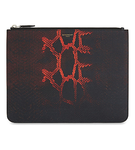 GIVENCHY Degrade large python-print leather pouch (Blk+red