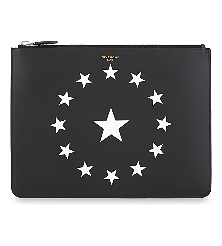 GIVENCHY Medium leather stars pouch (Black/white