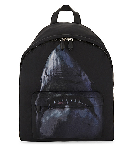 GIVENCHY Shark print backpack (Black+blue 83be0728bc747