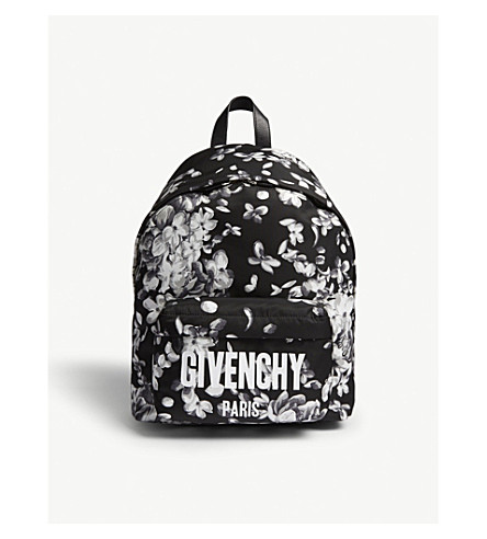 GIVENCHY Iconic hydrangea-print shell backpack (Black+white