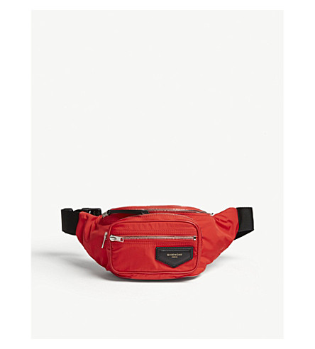 GIVENCHY Logo-patch shell bum bag (Red