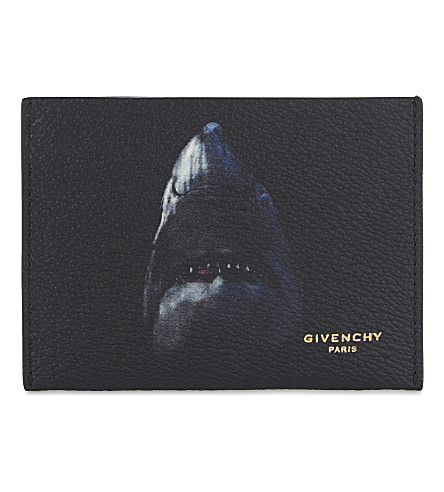 GIVENCHY Shark-print grained leather card holder (Black+blue