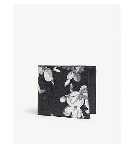 GIVENCHY Hydrangea-print leather billfold wallet (Black+white