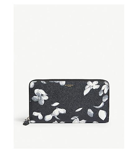 GIVENCHY Hydrangea-print leather zip-around wallet (Black+white