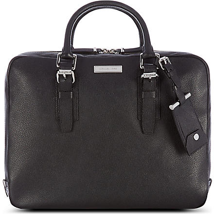 MICHAEL KORS Mottled leather briefcase (Black