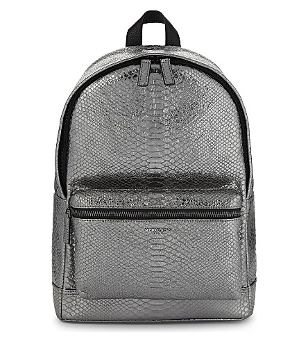 MICHAEL KORS Bryant snake-embossed backpack (Nickle