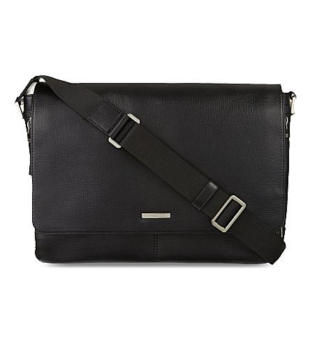 MICHAEL KORS Maya leather large messenger bag (Black