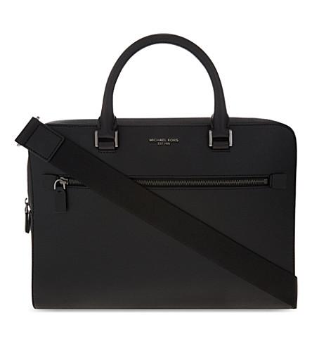 MICHAEL KORS Harrison medium leather briefcase (Black