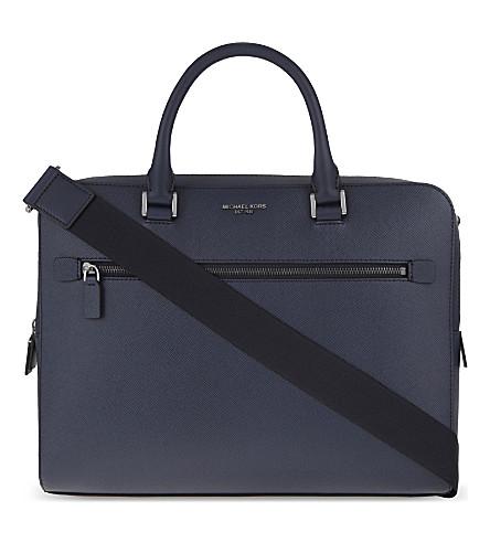 MICHAEL KORS Harrison medium leather briefcase (Navy