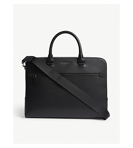 MICHAEL KORS Harrison double zip Saffiano leather briefcase (Black