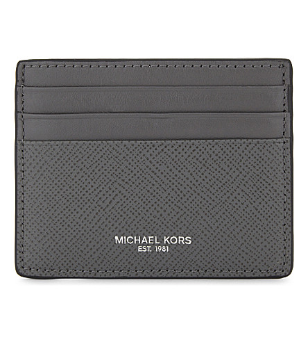 MICHAEL KORS Harrison leather card holder (Grey