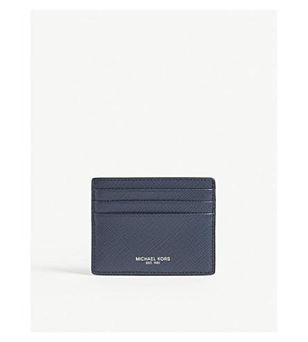 MICHAEL KORS Harrison leather card holder (Navy