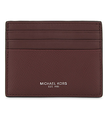 MICHAEL KORS Harrison leather card holder (Rouge red