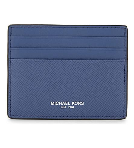 MICHAEL KORS Harrison leather card holder (Sea blue