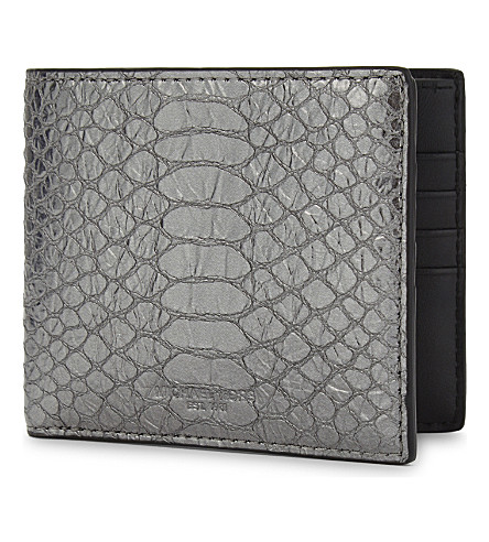 MICHAEL KORS Metallic snake-embossed billfold wallet (Nickle