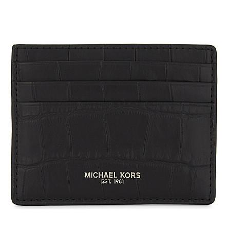 MICHAEL KORS Bryant croc-embossed card holder (Black