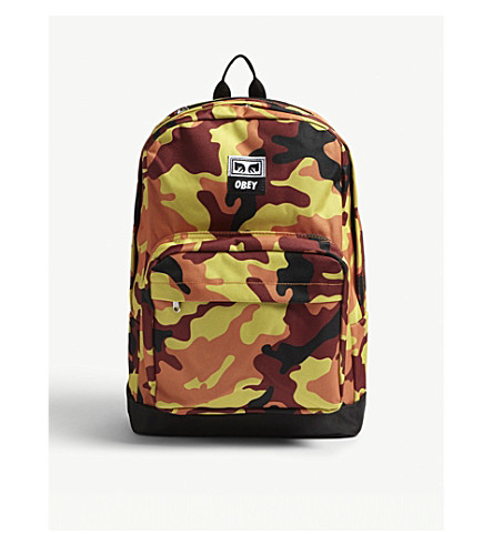 OBEY Drop Out Juvee camouflage backpack (Orange+field+camo