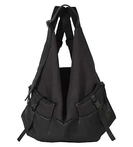 COTE & CIEL Ganges large leather & canvas backpack (Black