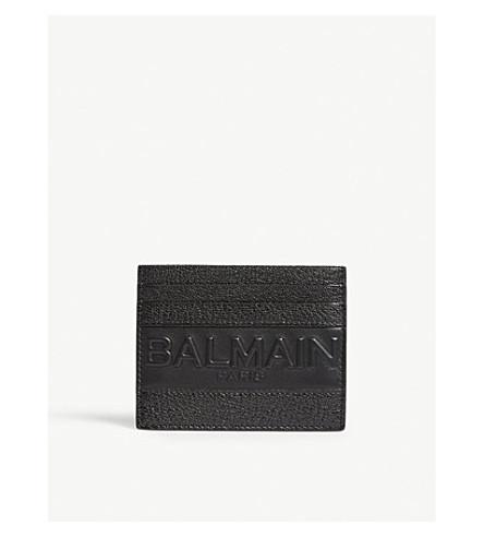 BALMAIN Logo leather card holder (Black