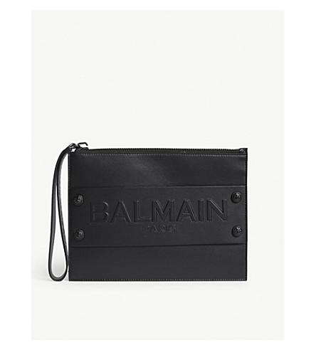 BALMAIN Logo mini leather pouch (Black
