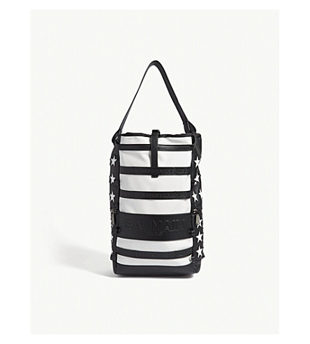 BALMAIN Cruise flag leather backpack (Black