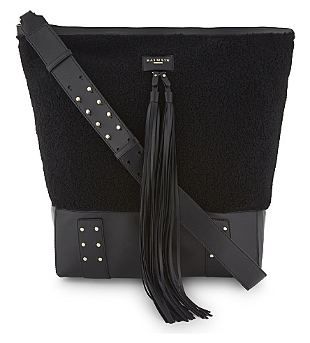 BALMAIN Domaine Besace shearling and leather shoulder bag (Black