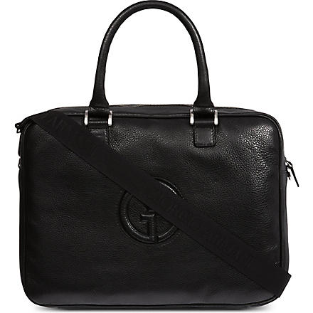 ARMANI Nappa leather logo work bag (Black