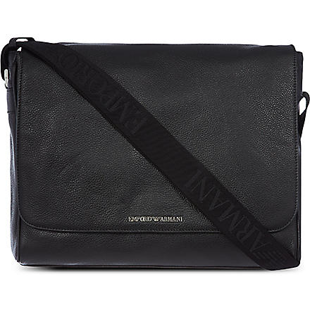 EMPORIO ARMANI Mottled leather messenger bag (Black