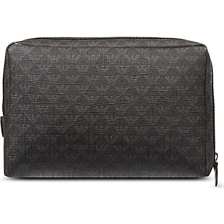 EMPORIO ARMANI Saffiano all-over logo wash bag (Black