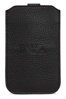 EMPORIO ARMANI Leather logo leather iPhone5 case