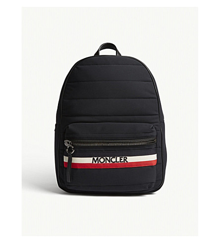 MONCLER New George quilted canvas backpack (Black+red+white