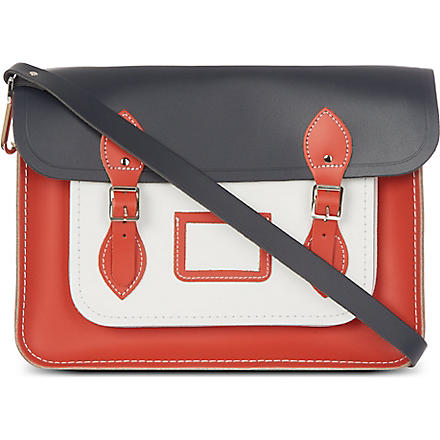THE CAMBRIDGE SATCHEL COMPANY Colourblock leather satchel (Arancia/ white / navy