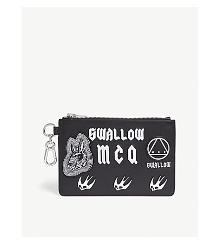 MCQ BY ALEXANDER MCQUEEN SWALLOW LEATHER POUCH