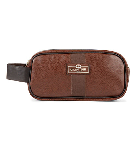 OTIS BATTERBEE LTD Small faux-leather wash bag (Brown