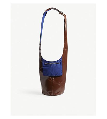 RAF SIMONS Twisted patent shoulder bag (Blue