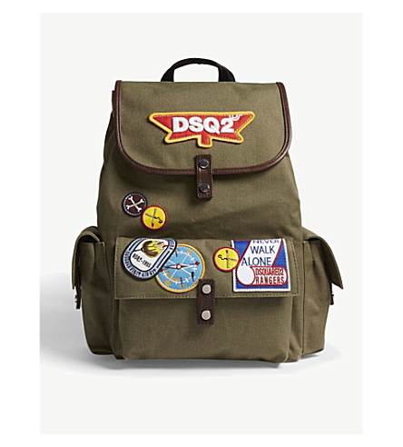 DSQUARED2 Embroidered patch backpack (Olive