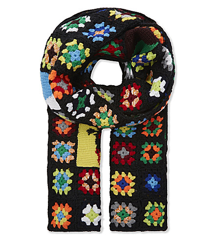 JW ANDERSON Crochet knitted scarf (Black/multi