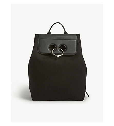 JW ANDERSON Pierce cotton-canvas and leather backpack (Black