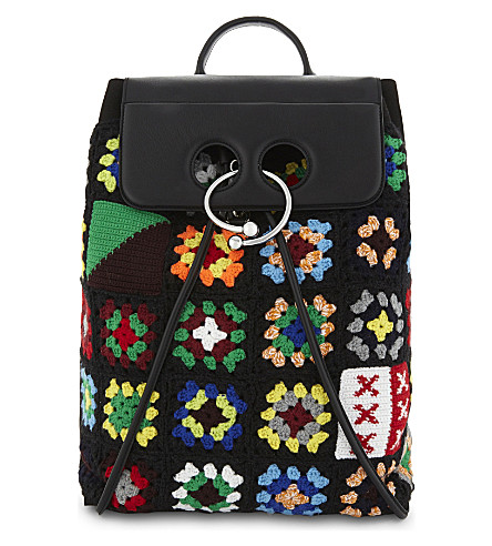 JW ANDERSON Pierce knitted backpack (Black/multi