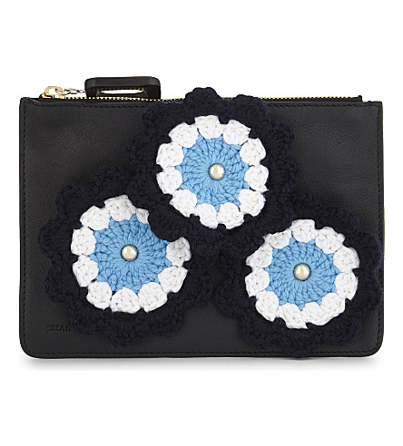 JW ANDERSON Knitted flower leather pouch (Black