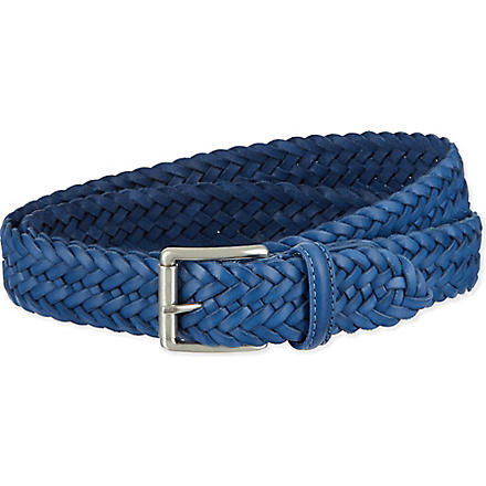 ANDERSONS Leather woven belt (Blue