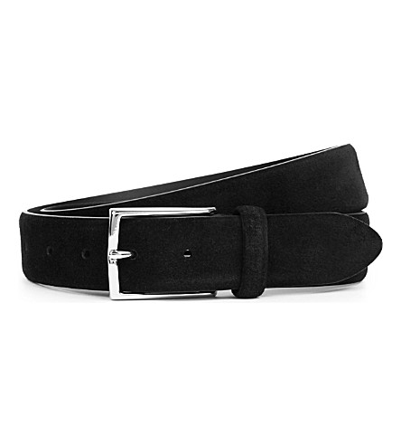 ANDERSONS Classic suede belt (Black