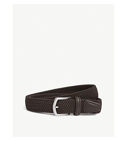 ANDERSONS Woven Waxed-Cord Belt (Brown