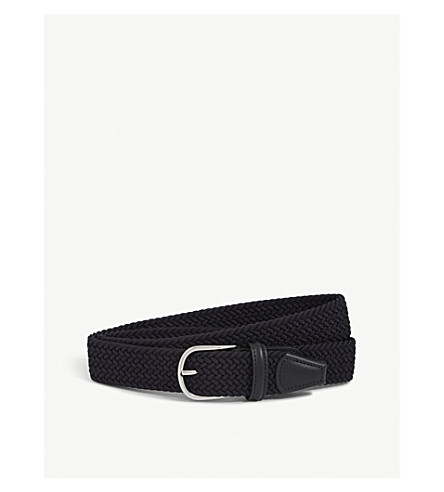 ANDERSONS Elasticated woven belt (Navy