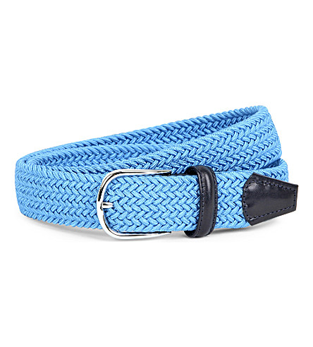 ANDERSONS Elasticated woven belt (Blue+navy