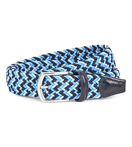 ANDERSONS Multi-woven elasticated belt (Multi+blue